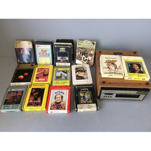 37 - 8 Track stereo player & 15 cartridges including Abba Wings...