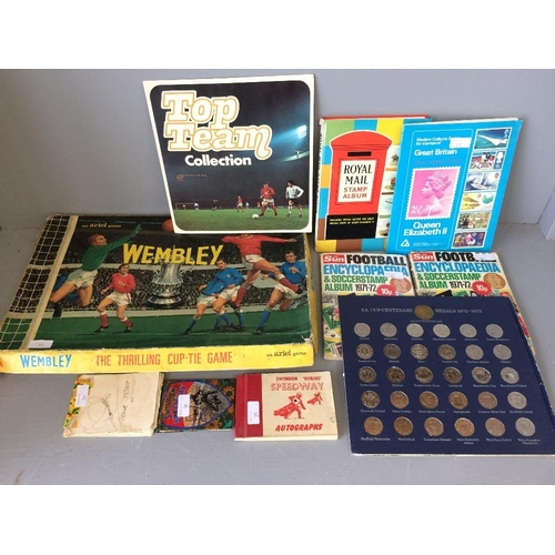 38 - The game of Wembley made by Ariel, top team collection of football stickers, FA cup centenary commem...