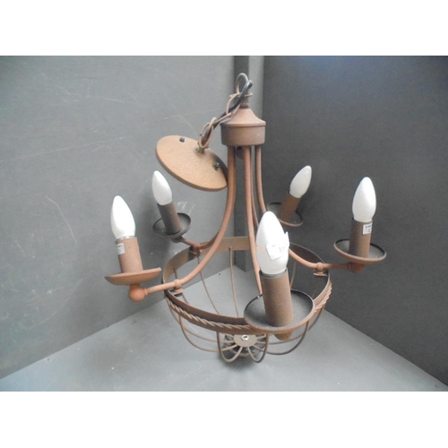 6 - General Clearance Lot: Modern 'rust' effect 5 branch chandelier...