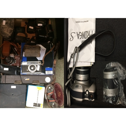 12 - Collection of old cameras, binoculars, modern digital photo printer etc...
