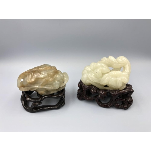1 - C19th Chinese Jade carvings of a flower & squirrel with grapes (2) Provenance of lots 1 to 26: Local...