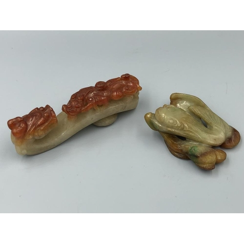 10 - Chinese C19th jadeite dragon buckle & twin fish (2) Provenance of lots 1 to 26: Local Vendor – items...