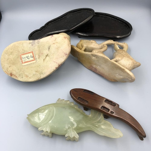12 - Chinese C20th jade carving of a fish, 14cm Long, & a soap stone carving of 2 geese on stand, & a soa...
