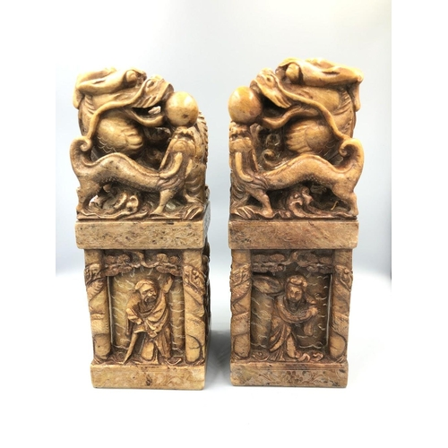 14 - Chinese C20th Pair of soapstone dragon seals 21cm High Provenance of lots 1 to 26: Local Vendor – it...