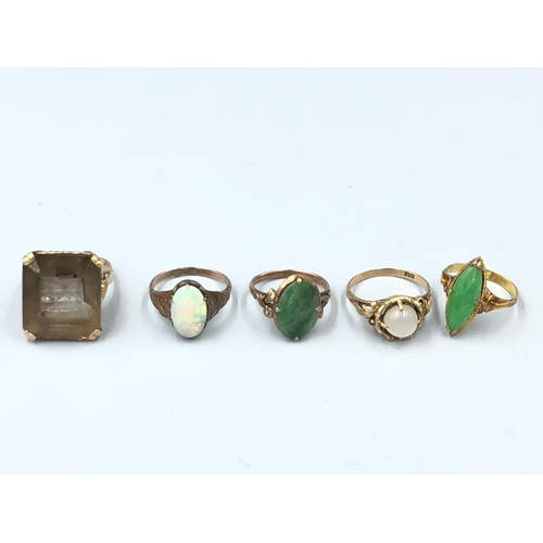 16 - C20th Jewellery- including Opal & Jadeite rings, some stamped (5) Provenance of lots 1 to 26: Local ...