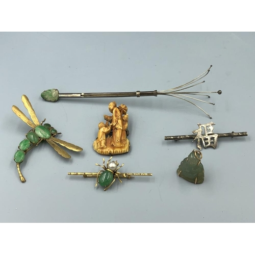 17 - C20th Jewellery including brooches, pendant etc some Jadeite (6) Provenance of lots 1 to 26: Local V...
