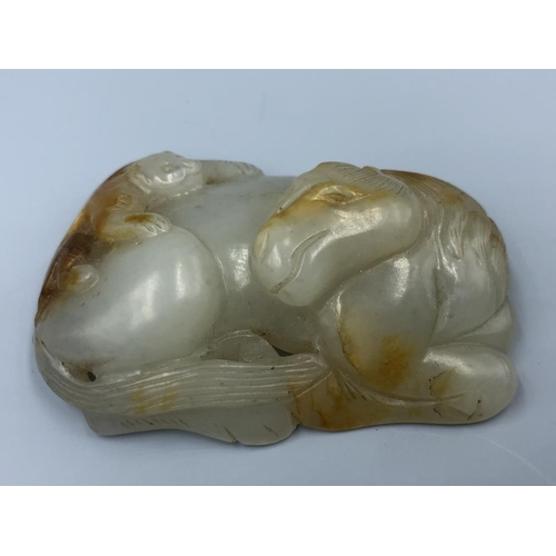 2 - C19th Chinese jade carving of a horse with a monkey on a stand (1) Provenance of lots 1 to 26: Local...