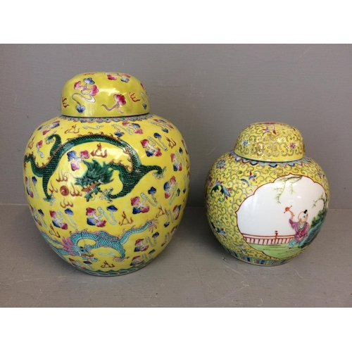 20 - Two C20th yellow famille rose ginger jars Provenance of lots 1 to 26: Local Vendor – items have been...