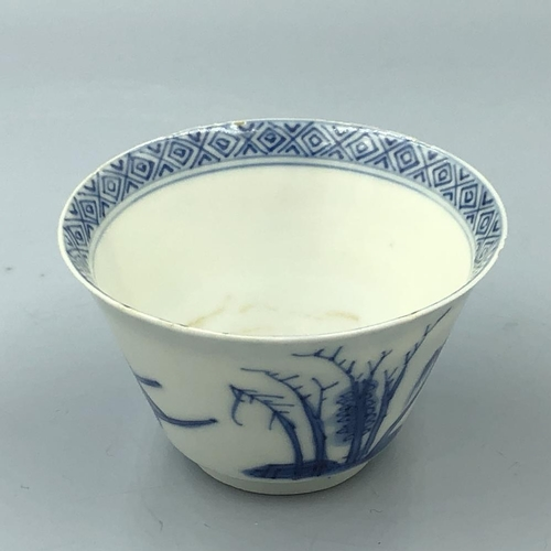 29 - C17th Chinese blue & white cup bearing Chenghua 4 character mark, 6.5 cm diam, small frit rim chips...