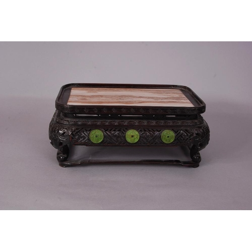 30 - C18th/19th Chinese marble-inset Zitan rectangular stand, 13cm high, 31cm wide, 22cm deep...