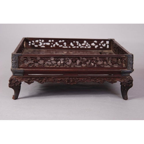 42 - Chinese marble-inset hardwood square tray; together with a mother-of-pearl inlaid hardwood square tr...