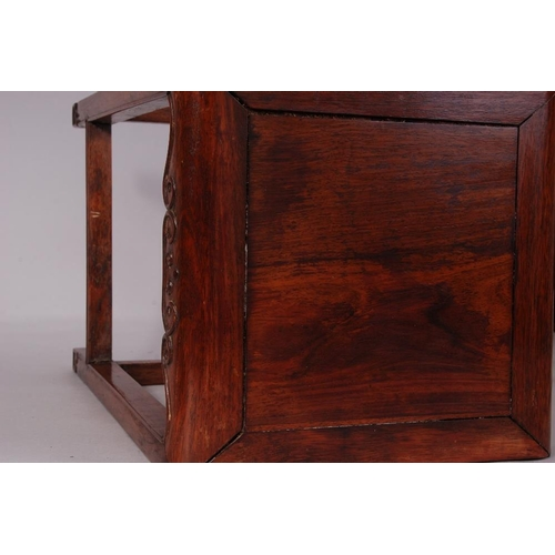 43 - Late C19th Chinese Huanghuali square stand, 45cm high....