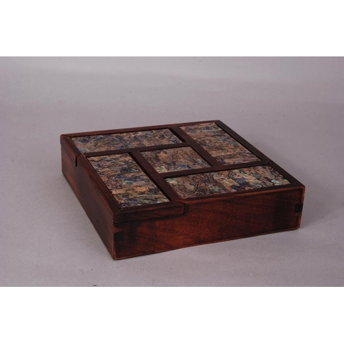 44 - Chinese mother-of-pearl inlaid wood square box, 20cm wide....