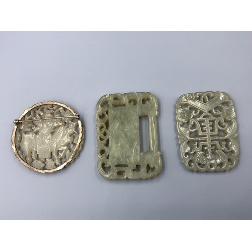 5 - C19th Chinese jade plaques (3) Provenance of lots 1 to 26: Local Vendor – items have been stored in ...