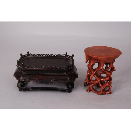53 - Chinese Zitan rectangular stand, 16cm wide, 8.5cm h; together with a boxwood root-form stand (2)...