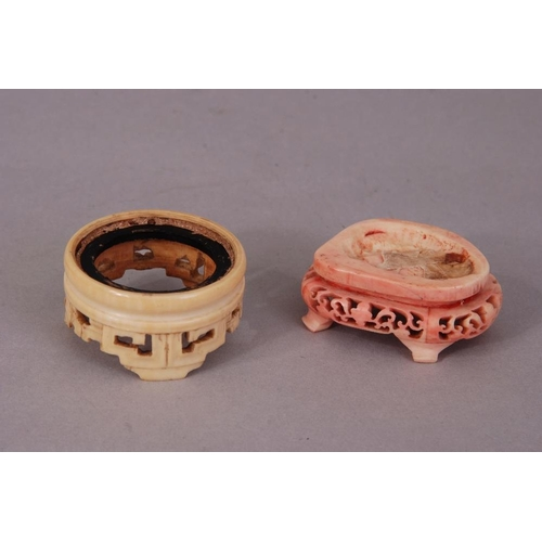 60 - Two C19th Chinese carved ivory stands (2)...