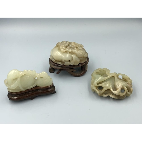 7 - C19th/C20th Chinese jade carvings in form of geese, Shishui & fruit with 2 stands (3) Provenance of ...