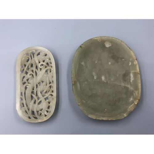 8 - Chinese C18th/19th jade plaques depicting dragon & Shou character (2), some chips Provenance of lots...