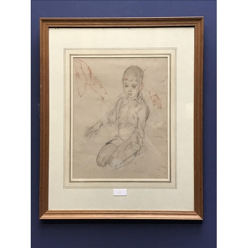 17 - Early C20th drawing ' A Boy Kneeling' indistinctly signed middle right 33 x 26 cm framed...
