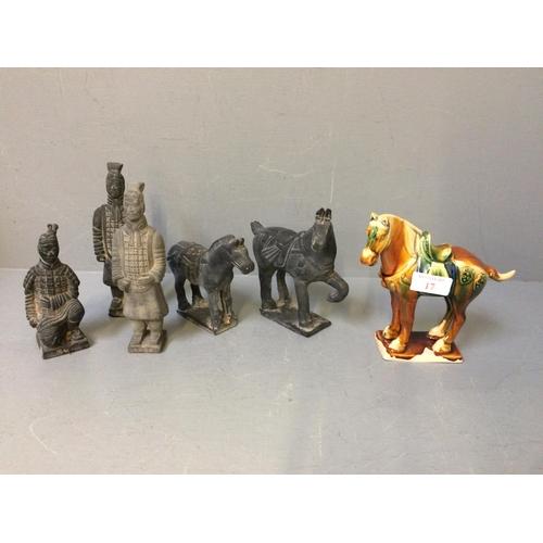 17 - Qty of terracotta warrior horses etc...