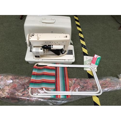 19 - Singer sewing machine, garden parasol & garden seat...