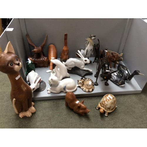 21 - Qty of wooden & china animal ornaments...