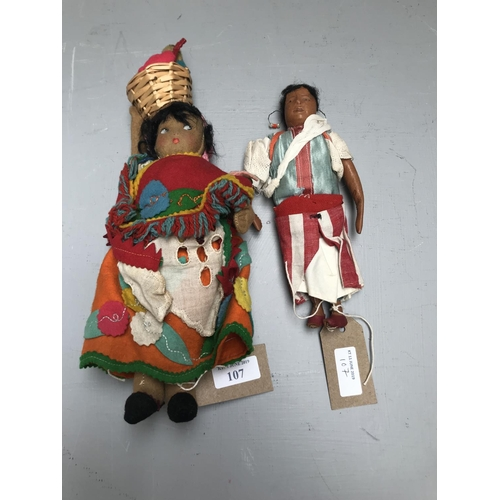 3 - 2 Early C20th South American dolls, 1 made from felt the other leather...