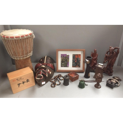 39 - African Asian wooden items including mask & Tom Tom...