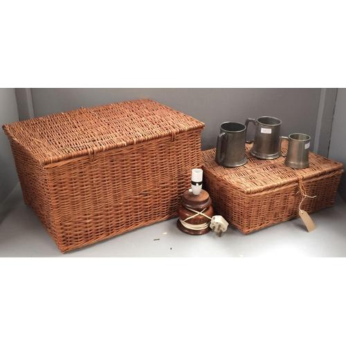 43 - 2 Wicker baskets, 3 pewter tankards, wooden lamp base...