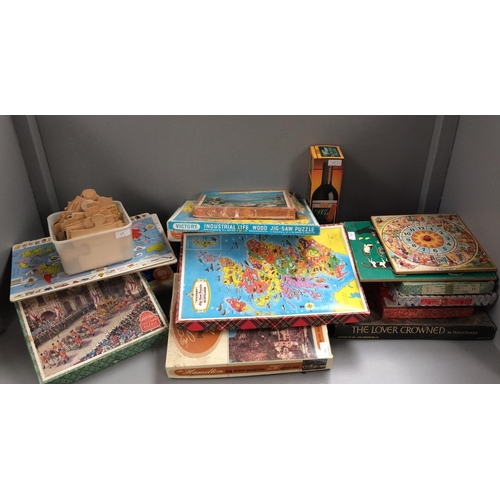 48 - Qty of jigsaw puzzles with range of children's to adults wooden & cardboard...