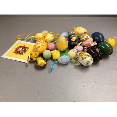 49 - Number of blown & painted chicken eggs & Easter decorations...