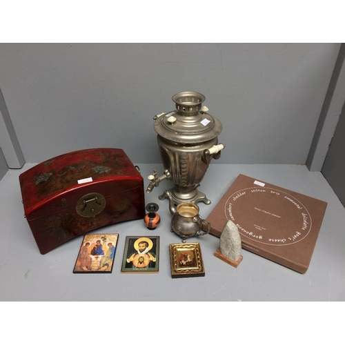 7 - Collection of items including a red lacquered box, electric water heater, cheese plate...