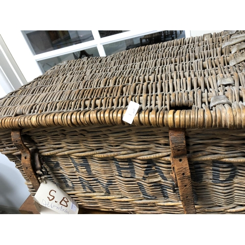 1 - 3 Large trunks & vintage wicker laundry basket...