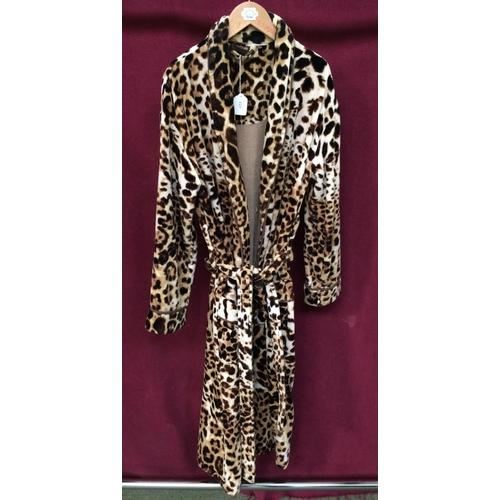 123 - Ladies house coat in animal print fabric labelled Roberto Cavalli...