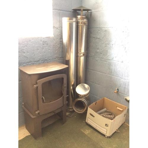 127 - Cast iron wood burner 90 x 55 cm...