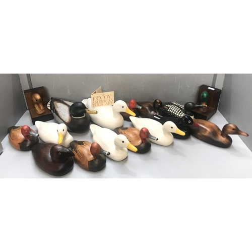 136 - Collection of American carved wooden decoy ducks, hand painted by various artists 1988, retailed by ...