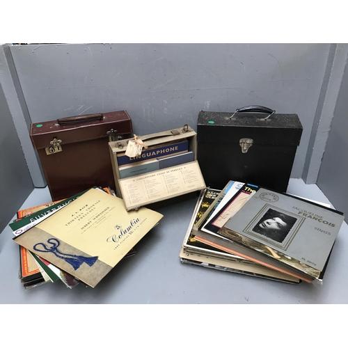 14 - Qty of vinyl records & cased linguaphone books...