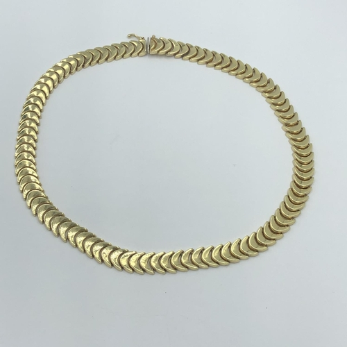 71 - Gold fancy link necklace 40g marked 585...