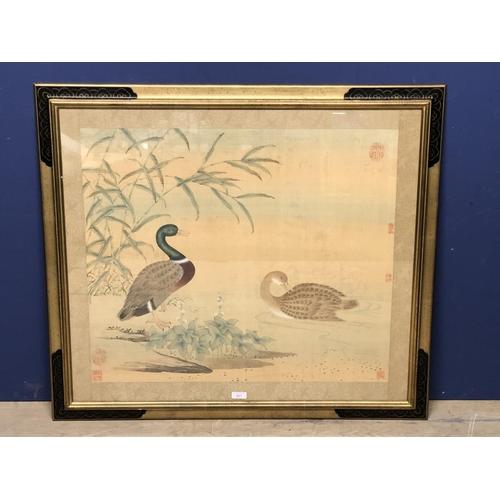 427 - Chinese Watercolour, wild ducks, 60x70 cm...
