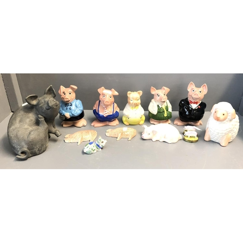 13 - Qty of National Westminster Piggies, WADE, London & other pig related china & items...