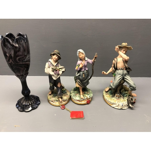 2 - 3 Capo de Monte figures together with a purple long stemmed goblet...
