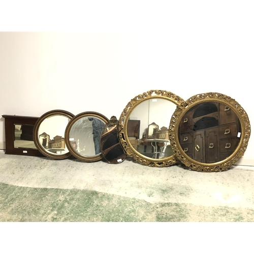 23 - Qty of circular & oval gilt framed wall mirrors etc...