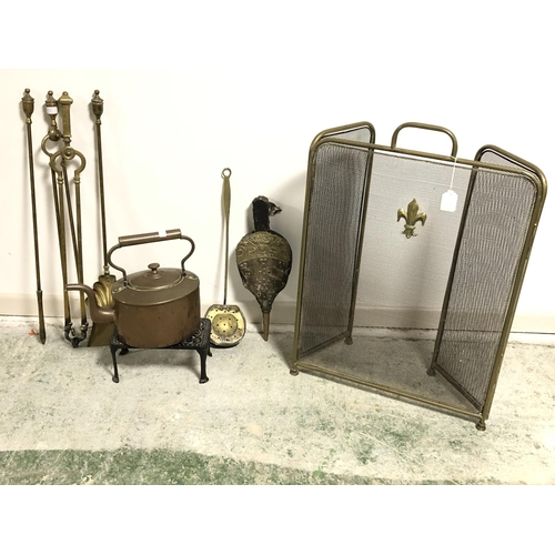 25 - Qty of brass fire irons, spark guard, copper kettle etc...