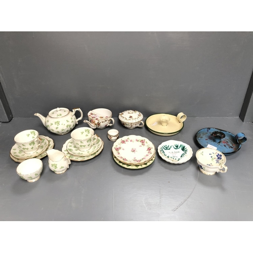 3 - Aynsley china early morning tea service lidded teapot, 2 cups & saucers, 2 small plates, milk jug & ...