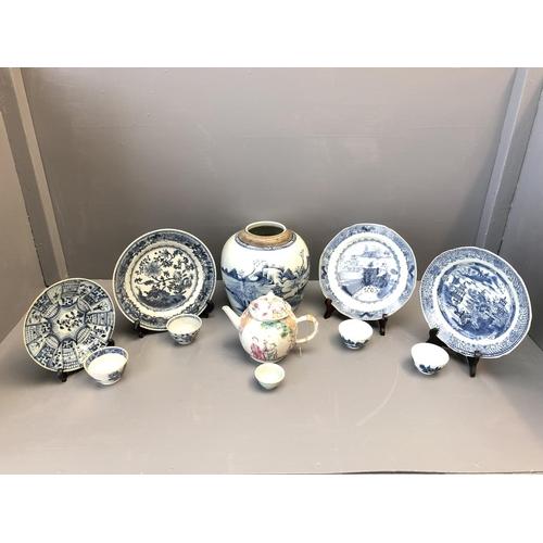 52 - Qty of Oriental ceramics including blue & white tea bowls, vases, ginger jars, famille rose tea pot ...