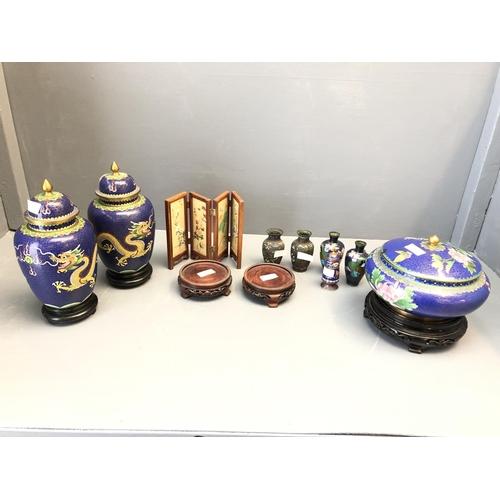55 - Qty of Cloissone wares, Oriental miniature screens & stands etc...
