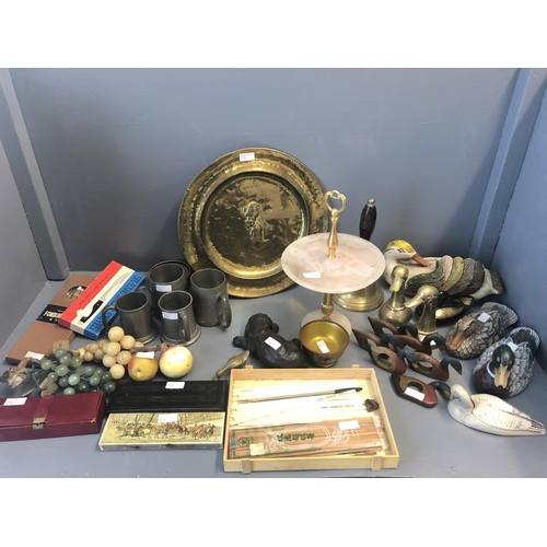 56 - Qty of brass & pewter wares, ornate ducks, dominos & other general items...