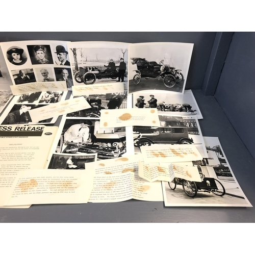 59 - Press release from Ford with photographs including  1st car Henry Ford ever made & Graham Hill  auto...
