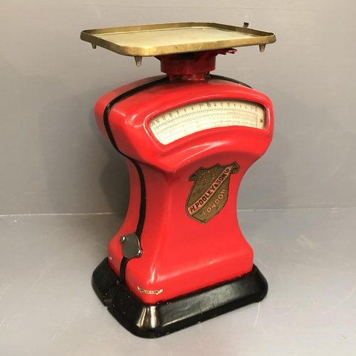 110 - H Pouley & Son Ltd post office parcel scales with weights up to 2lb.  Not Tested....