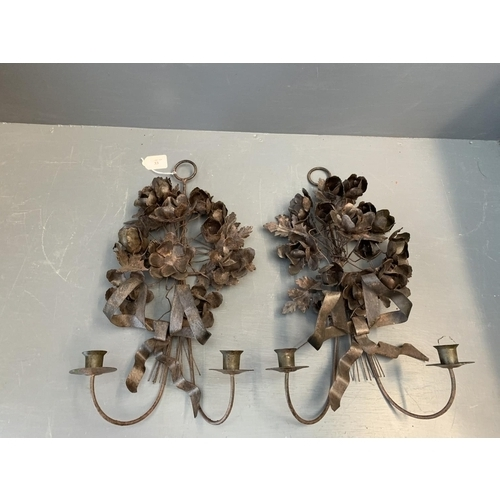 33 - Pair of decorative wall mounted candle holders...